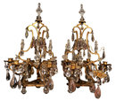 Pair Antique French Gilt Bronze & Crystal Girandole Candelabra