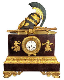 Antique French Empire Style Mantle Clock w Roman Armor