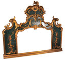 Antique Louis XV Style Painted Gilded Overmantel Mirror
