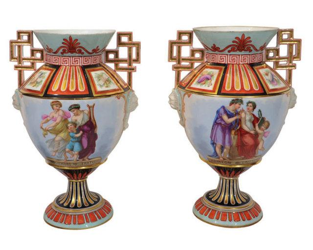 Pair Henri Ardant Limoges Greek Revival Porcelain Vases