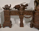 Antique French Louis XVI Armory Motif Andirons Firedogs