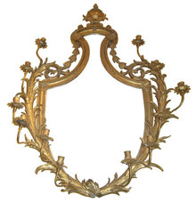 Antique Louis XV Style Gilt Bronze Girandole Mirror