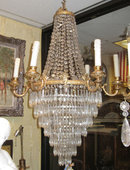 Antique Neoclassical Cascading Crystal Chandelier