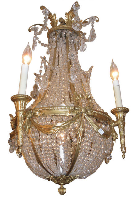 Antique Louis XVI Style Bronze & Crystal Chandelier