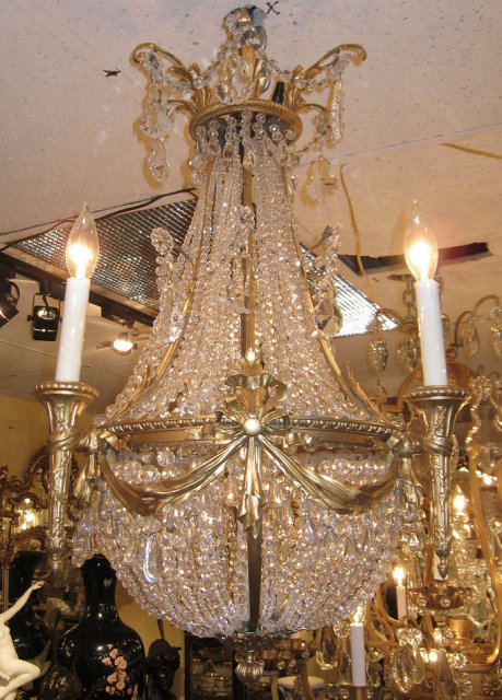 Antique Louis XVI Style Bronze & Crystal Chandelier