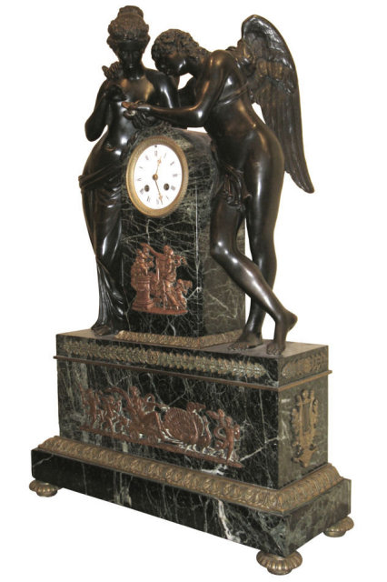 Antique Classical Cupid & Psyche Bronze Mantel Clock