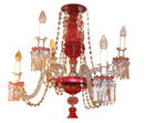 Antique English Ruby Red Glass Crystal Chandelier