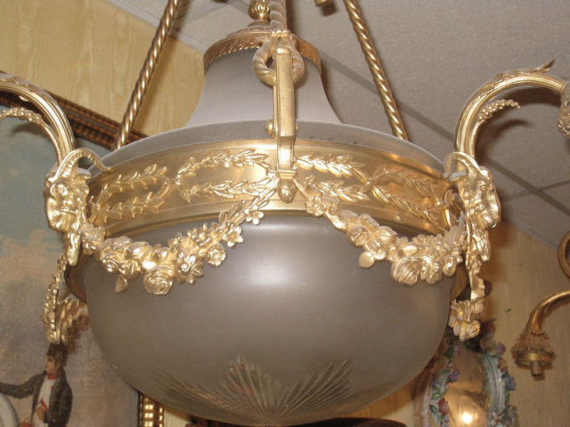 Antique Louis XVI Style Frosted Coupe Bronze Chandelier