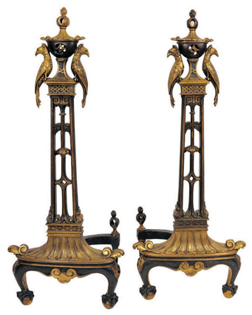 Antique Bronze Andirons with Exotic Birds