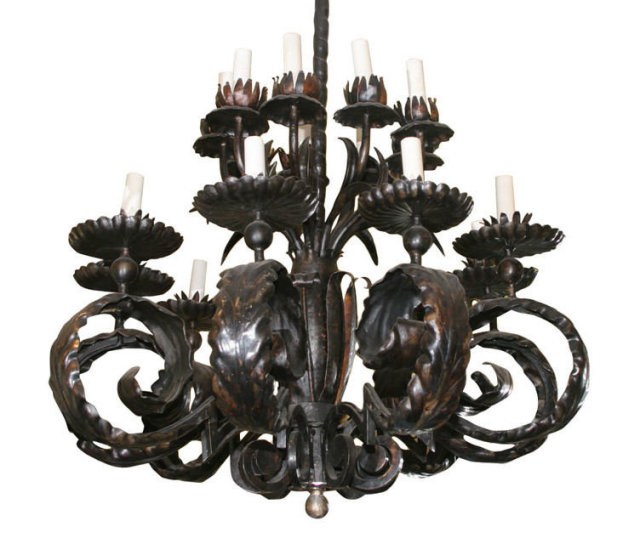 Vintage Wrought Iron Chandelier in Style of Gilbert Poillerat