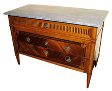 Antique Louis XVI Italian Fruitwood Parquetry Commode