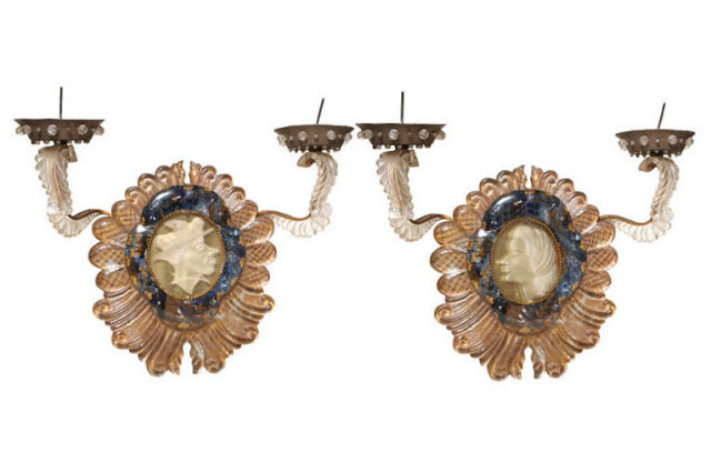 Pair French Maison Jansen Venetian Style Sconces