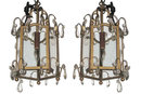 Pair Antique Bronze Lanterns with Crystal Pendants