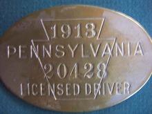 1913 CHAUFFEUR BADGE-PA