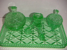 6PC GREEN GLASS DRESSER SET