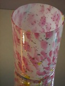 SPATTER/SPANGLE GLASS TUMBLER-PINK