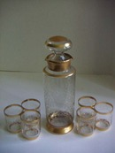 GOLD DECORATED ETCHED DECANTER SET