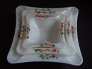 HAND-PAINTED MILK GLASS ASHTRAY SET