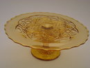 AMBER PATTERN GLASS CAKE STAND