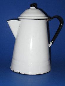 VINTAGE ENAMELWARE COFFE BOILER-WHITE W/BLACK TRIM