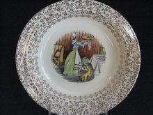 TST EARLY AMERICAN HOME  SCENE W/GOLD FILIGREE  SOUP BOWL