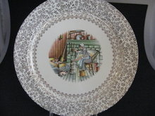 TST EARLY AMERICAN HOME DESIGN W/GOLD FILIGREE  DINNER PLATE