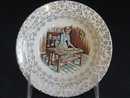 TST EARLY AMERICAN HOME DESIGN W/GOLD FILIGREE  DESSERT  PLATE