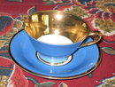 TIRSCHENREUTH DEMITASSE CUP/SAUCER-GOLD & BLUE