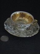 MITTERTECH DEMITASSE CUP/SAUCER-GOLD FILIGREE