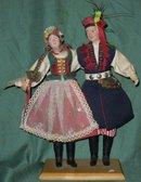 2 Vintage Folk Art Handmade  Polish Dolls