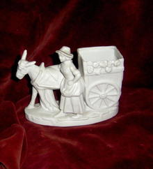 Bisque Porcelain Lady with  a Donkey car