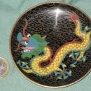 9 vintage small cloisonne plates 1 with a dragon