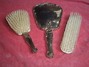 Silver Hand Mirror & 2 Brushes