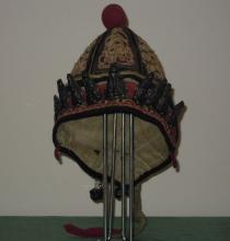 Old chinese cap for child with silver decoration