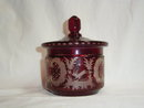 Antique bohemian ruby-colored cut to clear  pot