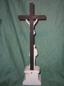 Antique crucifix with porcelain Jesus and Maria