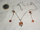 Silver with  Amber Neclace & Earrings