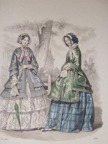 Antique hand colored  fashion print