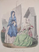 Antique hand colored   fashion print