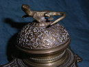 Messing Inkwell with Lizard on top.