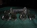 six  antique crystal  knife rests