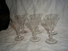 6 19th century wine glasses