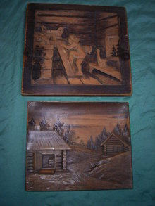 2  wooden  carved panels.