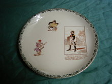 Sarreguemines  plate with Tapioca Universel advertisement