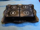 4 lacquerware boxes with bone gaming chips