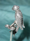 Sterling silver Parrot on a stick