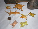 6 cellluloid frogs and 1 celluloid lizard