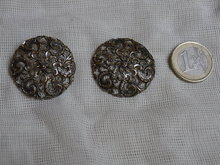 2 large vintage metal buttons