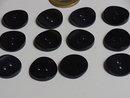 12 wooden dark blue buttons