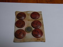 6 large  wooden red brown  buttons